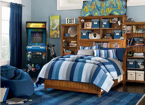 quarto azul rapaz Decoração de um quarto de rapaz
