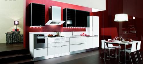 Decora o de cozinhas com branco e preto for Red white and black kitchen designs