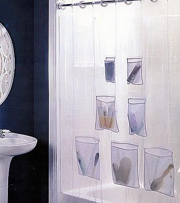 cortinas bolsos Ideias de arrumação para um banheiro pequeno