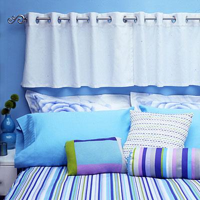 cortina cabeceira Renovar a cabeceira da cama