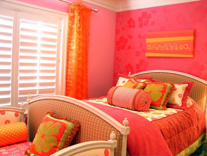 quarto laranja Decoração alegre e divertida para o quarto de uma adolescente