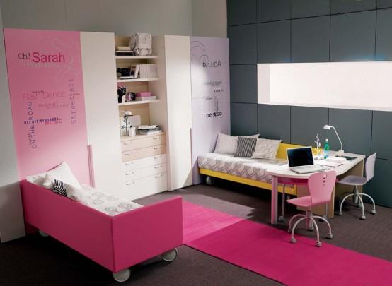 quarto pink Decoração alegre e divertida para o quarto de uma adolescente