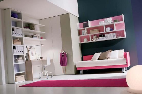 quarto rosa Decoração alegre e divertida para o quarto de uma adolescente