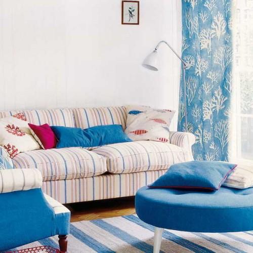 azul conjugar decora%C3%A7%C3%A3o Cortinados e outros tecidos: como combiná los