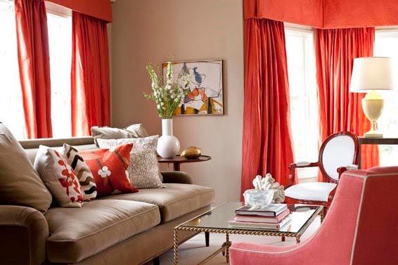 cortinas vermelhas2 Cortinados e outros tecidos: como combiná los
