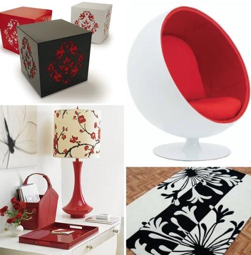 decor vermelha branca preta Decoração de quartos: preto, branco e vermelho