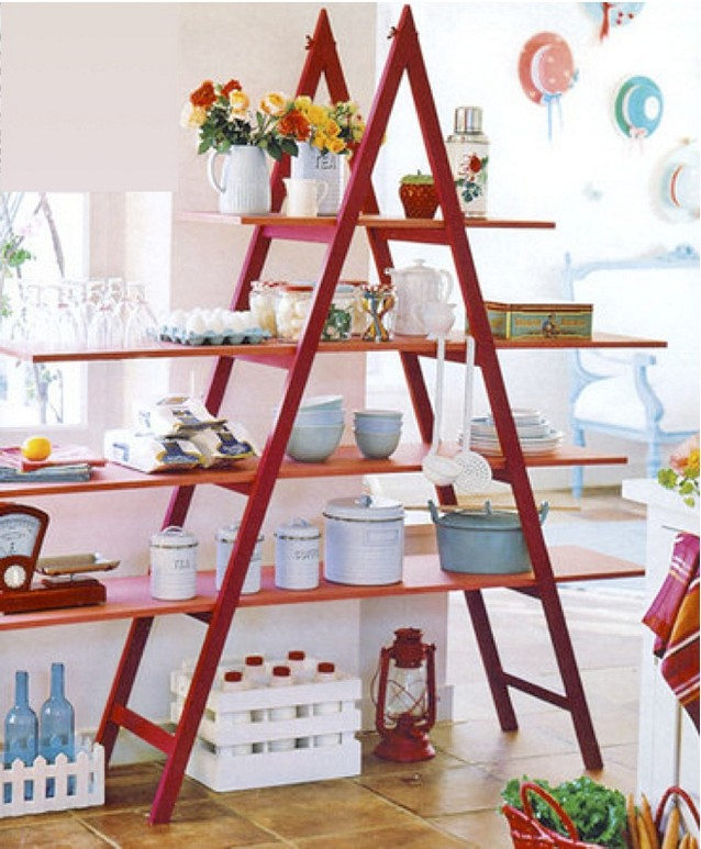 revista decoracao de interiores de apartamentos:Ladder Shelves for Display Ideas